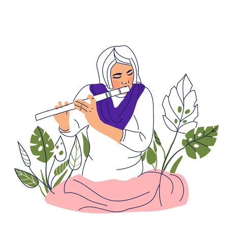 artist concept. Hand drawn woman playing on flute concept sketch. Isolated vector illustration.