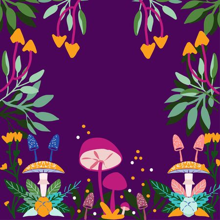 autumn  pattern with  mushrooms, flowers and trees. Seamless pattern  for wallpapers and background