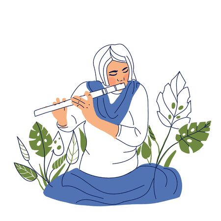 artist concept. Hand drawn woman playing on flute concept sketch. Isolated vector illustration. Foto de archivo - 133736361