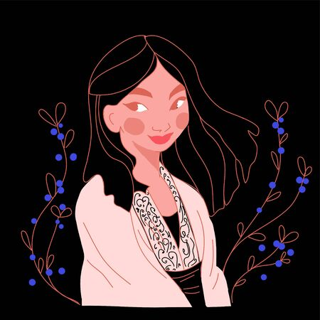 Flat girl long hair outdoor vector illustration  イラスト・ベクター素材