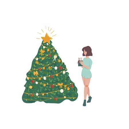 cartoon  girl and tree  Holidays concept. Vector EPS 10 illustration.