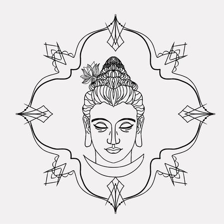 Buddhism esoteric motifs on white