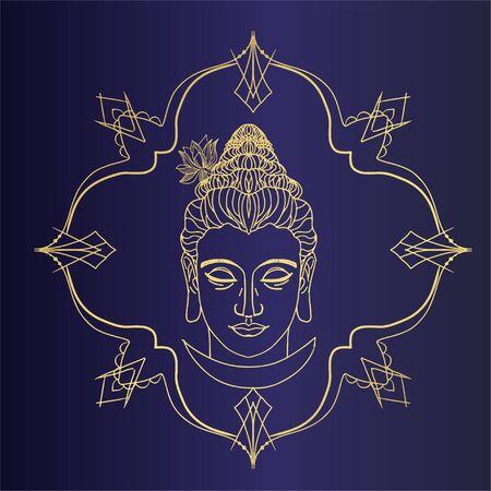 Buddhism esoteric motifs on black Illusztráció