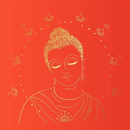 Buddhism esoteric motifs on orange