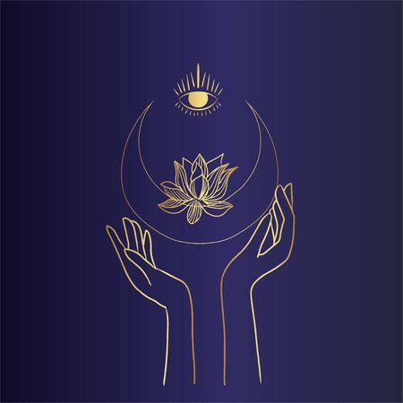 Vector magic icons. Hand drawing, doodles, sketch magician set. Symbols of Witchcraft Illusztráció