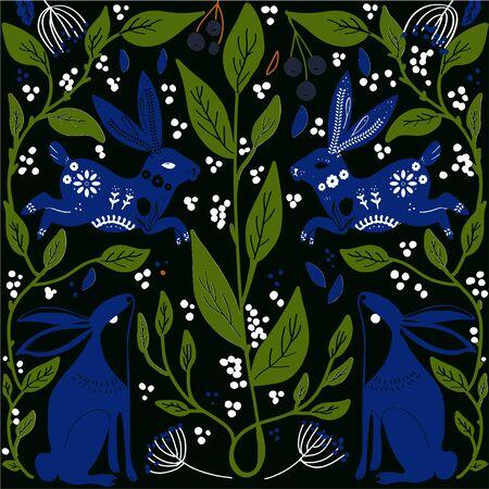 Scandinaviat folk art with fox, nordic style blockprint imitation