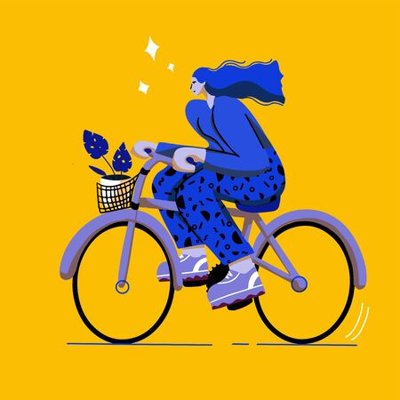 girl on bicycle trendy  colourful flat  style with big shoes Illusztráció