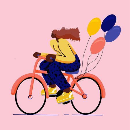 girl on bicycle trendy colourful flat style with big shoes