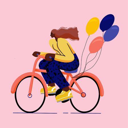 fille à vélo style plat coloré à la mode avec de grosses chaussures