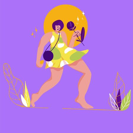 illustration of young woman walk with flower in trendy flat style - female character with big hand and foot Illusztráció