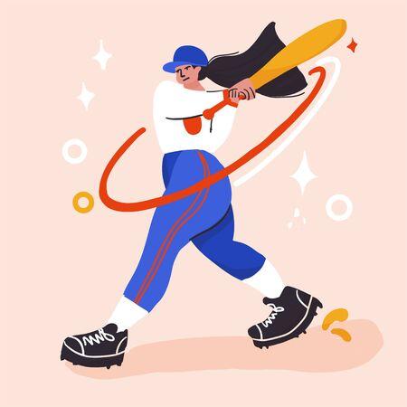 baseball player better on field. Vector flat illustration Illusztráció