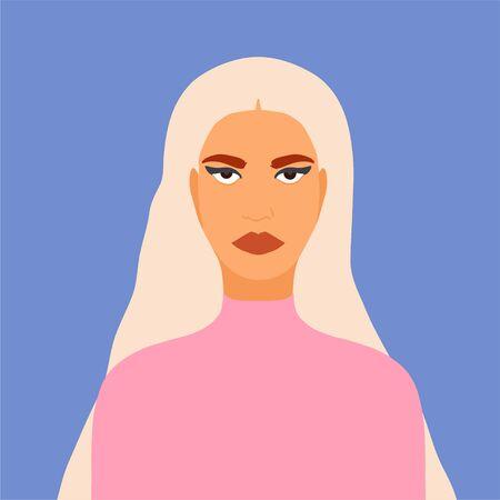 Flat ivector illustration portrait fgirl minimalistic trendy style Illusztráció