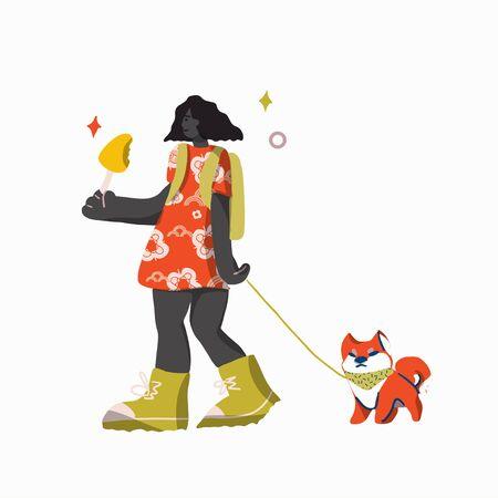 Girl and dog enjoy walking. Vector flat cartoon illustration. Summer outdoor concept.