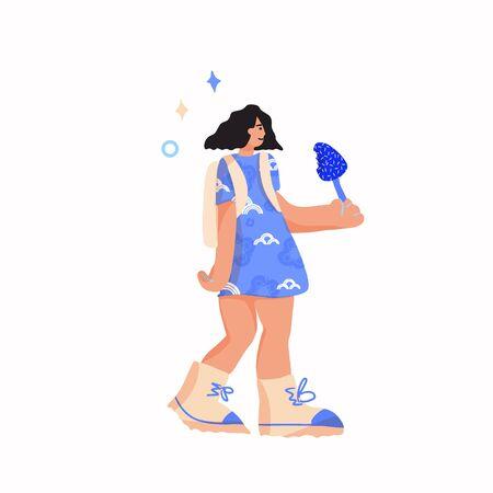 Flat girl long hair outdoor vector illustration Illusztráció