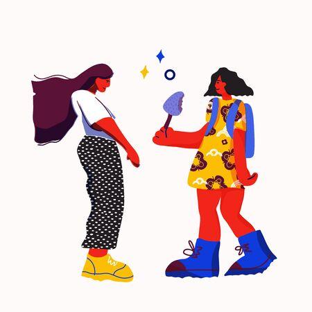 Illustration of a girl giving a gift to girl. Sisterhood concept.