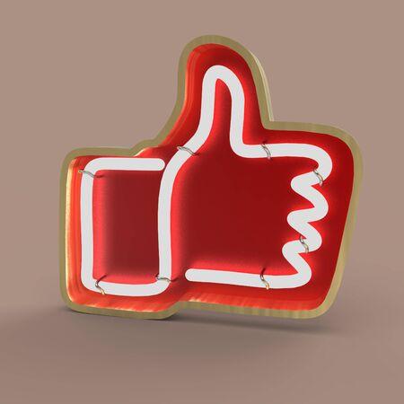 Neon button like  3d render illustration