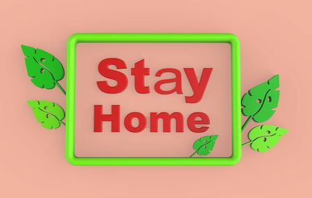 Stay home text Coronavirus - staying at home (self-isolation). Home Quarantine render illustration. Coronavirus self-quarantine. Isolation period at home. Self-isolation shield from coronavirus Stock fotó
