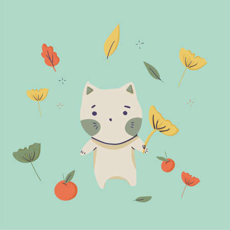 Kawaii Halloween cat poster with leaves and pumpkins