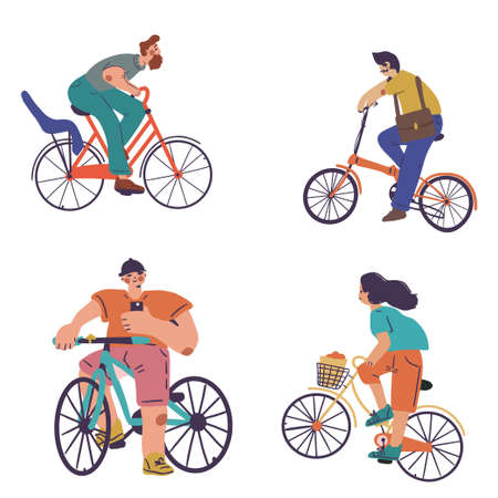 Set of people on different bikes, activity and sport Vettoriali