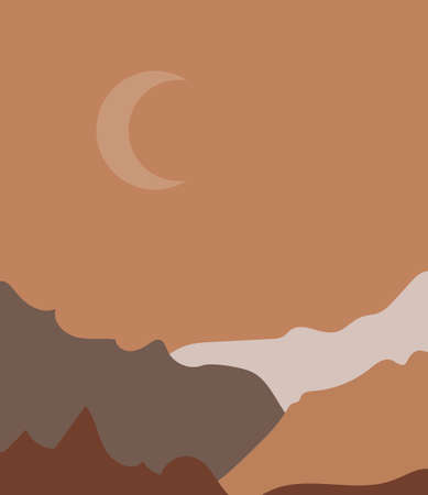 Vector illustration of a mountain landscape with forest. sunset in the mountains.
