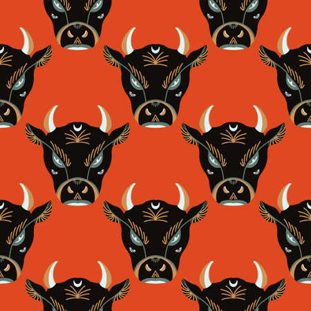 The bulls head is a symbol of prosperity in Chinese tradition. Bull symbol of 2021. Vector graphic seamless pattern Illusztráció