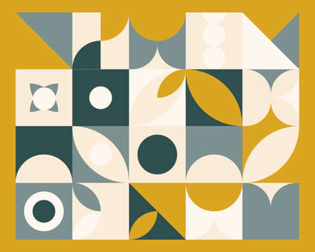 Abstract geometric mural colorful background in Bauhaus style. pattern design Vectores