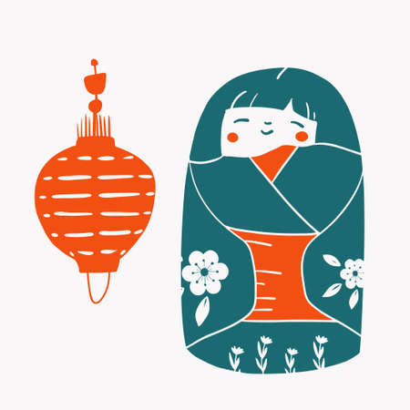 Japan wood dolls Kokeshi vector illustration linocut