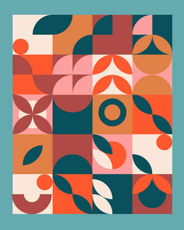 Abstract geometric mural colorful background in Bauhaus style. pattern design Illusztráció