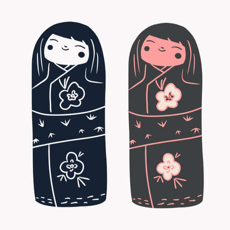 Japan wood dolls Kokeshi vector illustration linocut