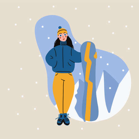 Cartoon cute girl with snowboard trendy style vector illustration Illusztráció