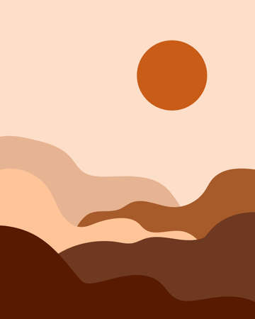 Minimalist landscape set. Abstract shapes. Bauhaus print. Old pop colors palette Illusztráció