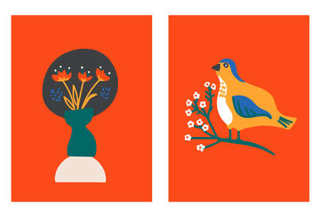 Set of Spring card with bird on blossom brunch, vase of flowers, greeting season Illusztráció