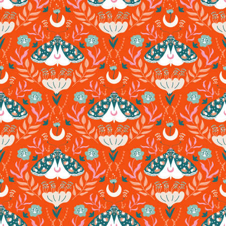 Damascus luxury seamless pattern with floral and butterflies. Seamless pattern Illusztráció