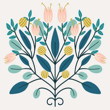Folk art Scandinavian symmetric design. Retro floral folk art pattern Vectores