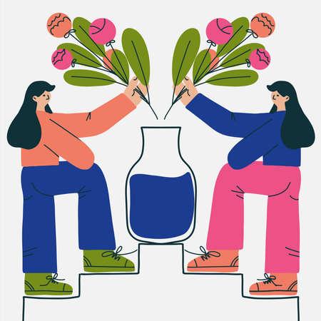 Gardener girls with flower bouquet, concept flowers shop, girls team flat Vectores