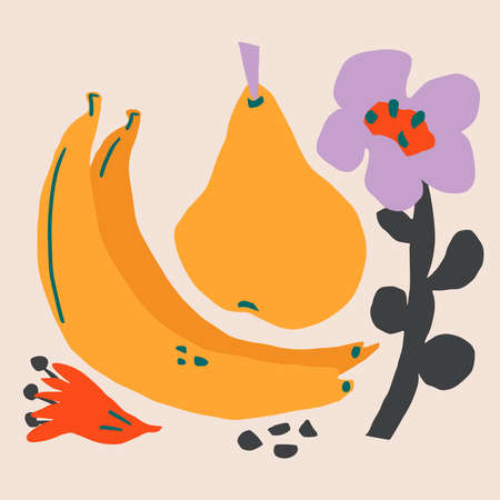 Paper cutouts tropical fruits and flowers. Hand drawn modern design for card