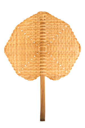 weaved: Handmade Thai traditional fan weaved from bamboo wood Stock Photo