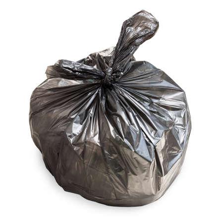 black plastic garbage bag: Black tied garbage bag on white Stock Photo