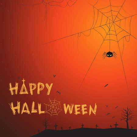 spider web background: Happy Halloween theme vector illustration