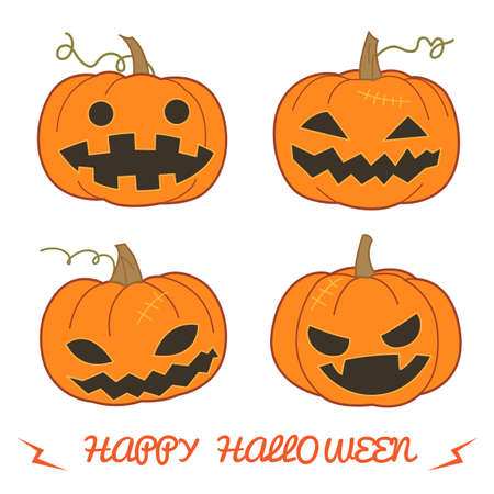 traditional background: Set of pumpkin for Halloween Jack O Lantern in various styles vector format