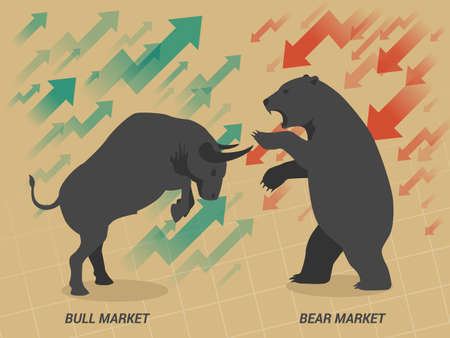 stock market graph: Stock market concept bull and bear