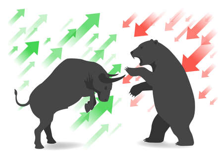 uptrend: Stock market concept bull and bear