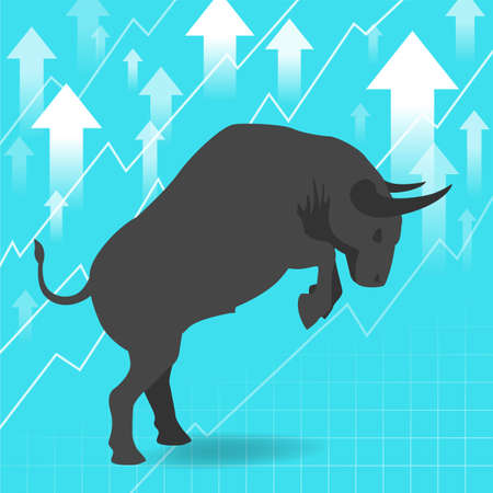 uptrend: Bull market presents uptrend stock market concept in background Illustration