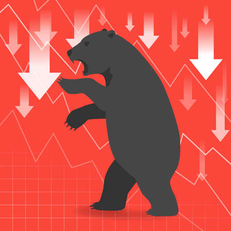 bearish business: Bear market presents downtrend stock market concept with graph in background