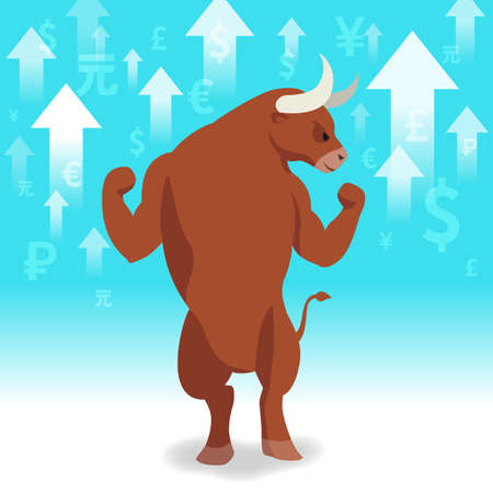 Bull market presents uptrend stock market concept in background 向量圖像