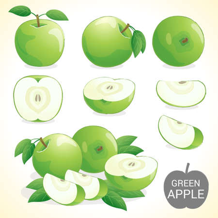 A set of green apples fruit, green apple with leave in vector and various styles for your design