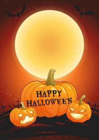 Happy Halloween full moon poster vector illustration 向量圖像