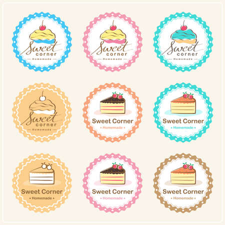 sweet pastries: Set of sweet bakery badge label and logo design Illustration