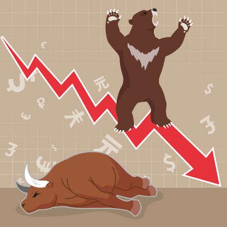 bearish business: Stock market concept bull and bear