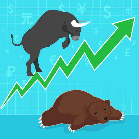 bear market: Stock market concept bull and bear